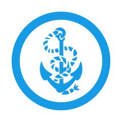 Icono redondo ancla azul