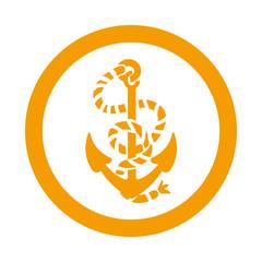Icono redondo ancla naranja