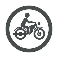 Icono redondo motorista gris