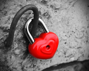 heart lock concept love black and white photo  red vintage