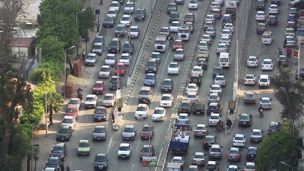 Traffic on Nile Street, Cairo, Egypt, zoom in