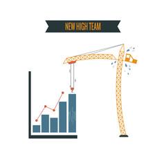 new high business graph concept