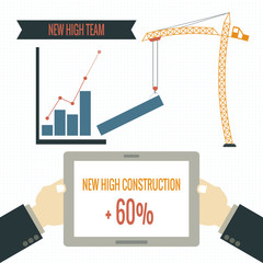 New high stock chart construction concept