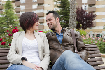 Couple in city bench