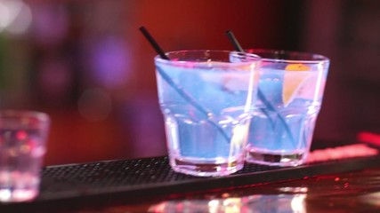 Cocktail at bar in the night club