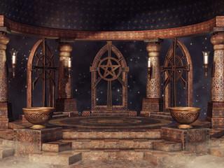 Baśniowa świątynia na tle nocnego nieba
