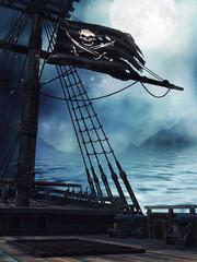 Pokład pirackiego statku z czarną flagą
