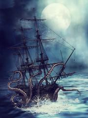 Statek wciągany pod wodę przez macki