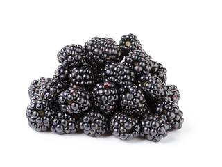 heap of fresh blackberry isolated on white