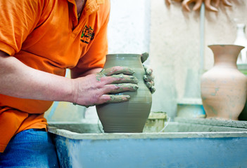 People at work: the production of ceramic vases on a Potter's wh