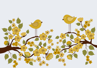 Cute birds on branches with flowers and leafs