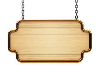 Wooden signboard on chain