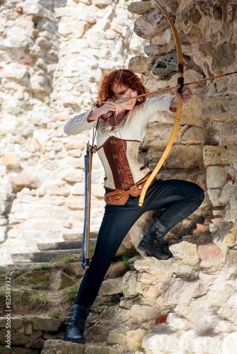 Foto op Plexiglas Draken Ancient female archer with bow and arrow