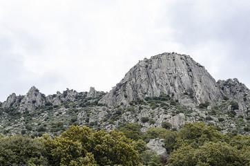 Landscape of bedrock over mountain