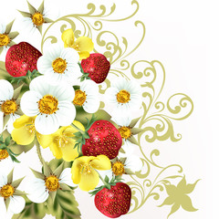 Beautiful realistic strawberry with flowers