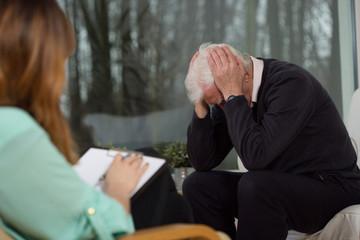 Senior at psychotherapist