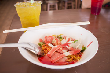 Yen ta fo,rice noodle in dish and soft drink