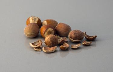 Some hazel nuts macro photo
