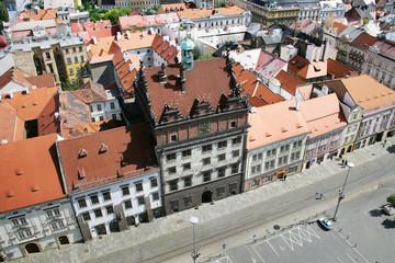 Town hall and Plague column, Plzen, Czech republic
