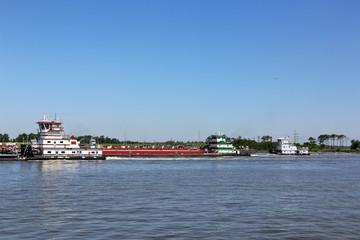 Three Tug Boats & Barge