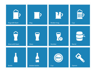 Beer and alcohol glasses icons on blue background.