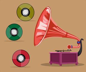 gramophone and vinyl vector