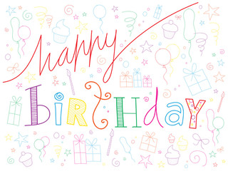 HAPPY BIRTHDAY doodle text with party symbols