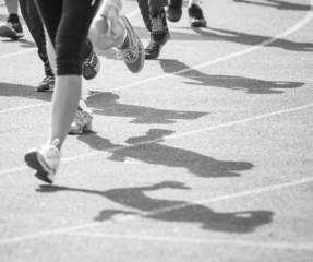 marathon of blurred motion crowd people jogging outdoor
