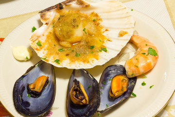 Mussels and scallops appetizer with shrimp