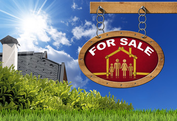 House For Sale Sign - Wooden Meter with Family