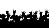 Cheering crowd silhouettes looping animation