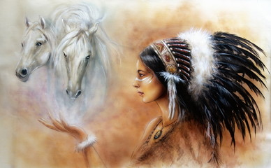 young indian woman wearing feather headdress, with two horse
