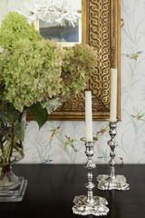 Silver candlesticks detail