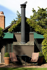 Exterior of house with large chimney