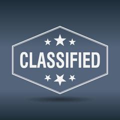 classified hexagonal white vintage retro style label