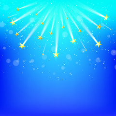 Blue  background with falling gold stars, Starfall. Vector illus
