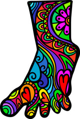 A hand drawn whimsical doodle foot shape with folk art patterns.