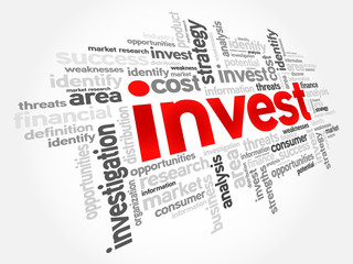 Invest word cloud, business concept