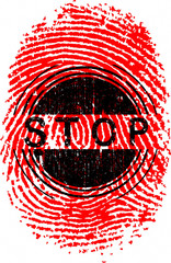 Vector Fingerprint with the word STOP overlaid