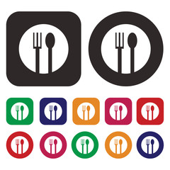 fork and spoon, food icon