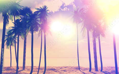 Fotobehang Beige 3D palm trees and ocean with vintage effect