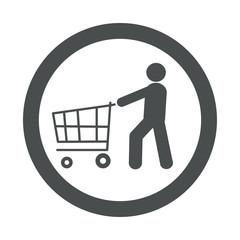 Icono redondo consumidor gris