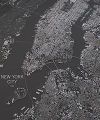 Cartina New York City, vista satellitare, mappa in negativo