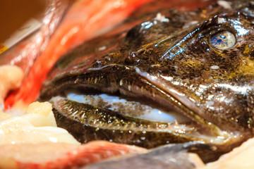 Anglerfish on Fish Market in Bergen. Norway