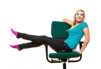 girl college student sitting on wheel chair relaxing.