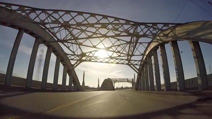 Moving shot of the historic 6th Street Bridge in Los Angeles.