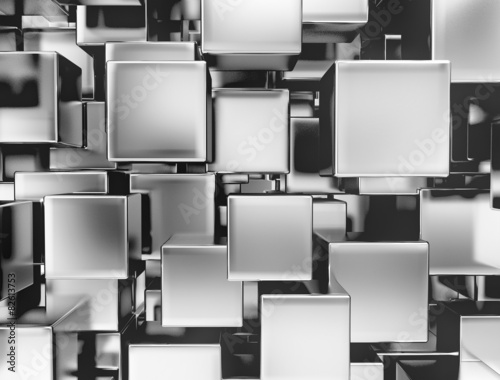 3d abstract metallic cubes background
