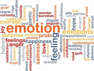 Emotion wordcloud concept illustration