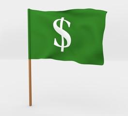 Money / Dolllar symbol flag on mast 3d illustration
