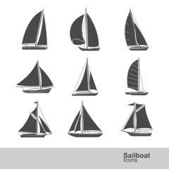 sailboat silhouette icon set , vector illustration